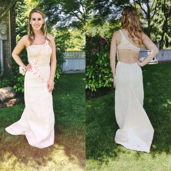 With the help of a designer, Barich was able to go to the prom in burlap to benefit charity, and still be glamorous.