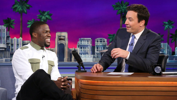 "Kevin Hart said he got sweaty palms just thinking about the rollercoaster ride, in a post-coaster chat with Jimmy Fallon ""Tonight."""