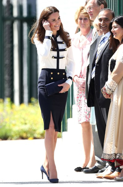 BLETCHLEY, ENGLAND - JUNE 18:  Catherine, Duchess of Cambridge meets the crowd during an official visit to Bletchley Park on June 18, 2014 in Bletchle...