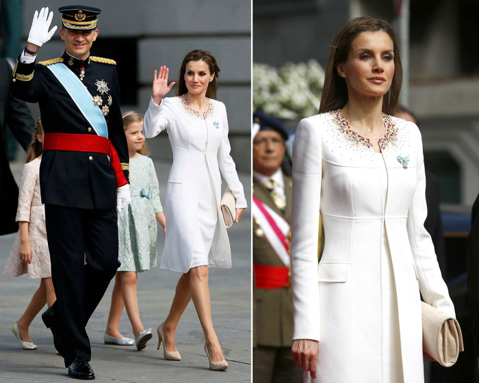 Image: Queen Letizia at the royal coronation wearing a stunning white outfit.