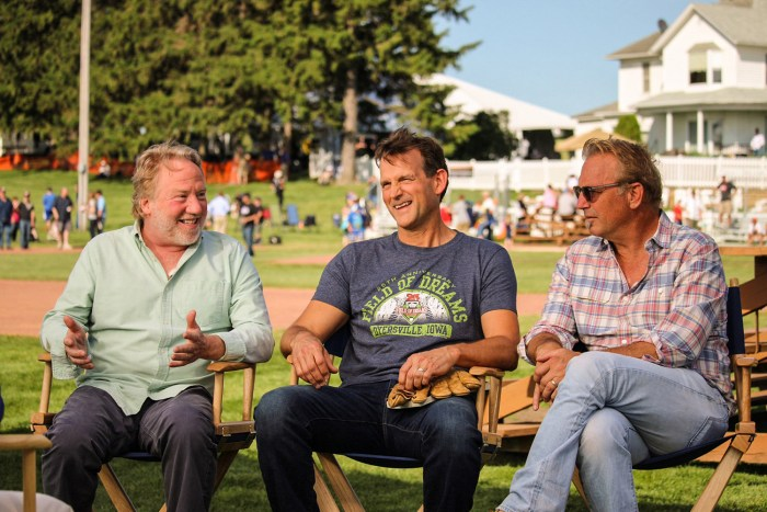 Timothy Busfield, Dwier Brown and Kevin Costner catching up