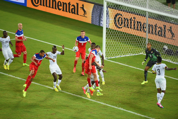NATAL, BRAZIL - JUNE 16: John Brooks of the United States scores his team's second goal on a header past Adam Kwarasey of Ghana during the 2014 FIFA W...
