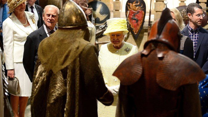 "Britain's Queen Elizabeth II and Prince Philip, the Duke of Edinburgh views props and costumes during their visit to the set of the HBO TV series ""Gam..."