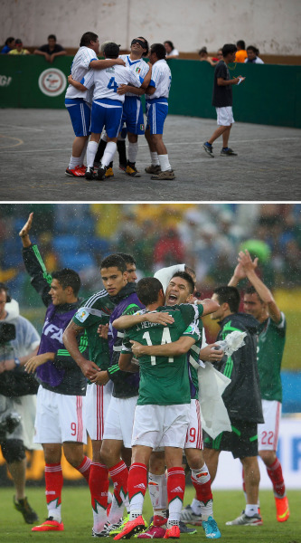 "In this Sunday, June 8, 2014 photo, Jose Luis Molina, center, celebrates with Italia teammates after they defeated the Leones Negros 6-5 in the 2014 final of the Ignacio Trigueros Soccer League for the Blind and Visually Impaired, in Mexico City. ""The concept of this league is just to spend time together, to unwind, to relieve stress, to relax,"" says Molina. ""On the court, as in the farthest corners of the earth, there is rivalry; there are fights; there are spats. But socially, it's harmonious."" (AP Photo/Rebecca Blackwell)  NATAL, BRAZIL - JUNE 13: Javier Hernandez and Oribe Peralta of Mexico hug after defeating Cameroon during the 2014 FIFA World Cup Brazil Group A match between Mexico and Cameroon at Estadio das Dunas on June 13, 2014 in Natal, Brazil.  (Photo by Julian Finney/Getty Images)"