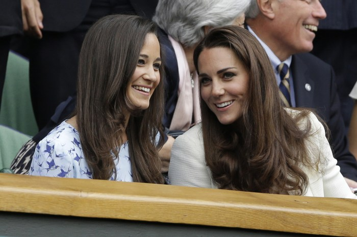 Kate, right, and Pippa chat at last year's Wimbledon tournament.