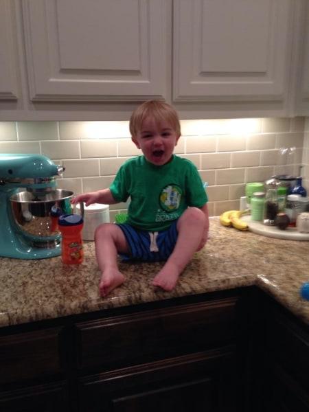"""Making his """"Goooooaalllll"""" face."""