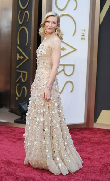 """Nominee for Best Actress in """"Blue Jasmine"""" Cate Blanchett arrives on the red carpet for the 86th Academy Awards on March 2nd, 2014 in Hollywood, Calif..."""
