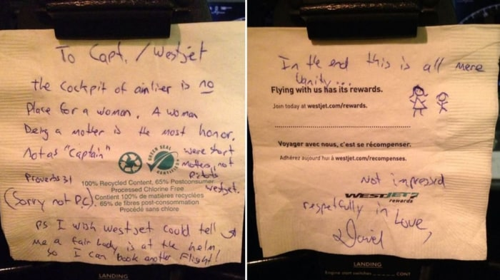 WestJet pilot Carey Steacy posted this note left by a passenger on a recent flight on Facebook.