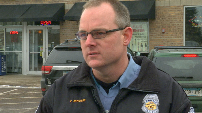 "Kyle Severson is an officer with the Minneapolis Police Department. Its motto is ""to serve with compassion."""