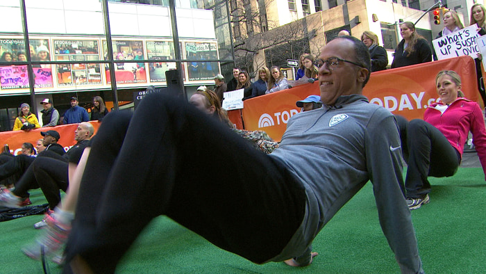 Lester Holt isn't shy when it comes to working out, and he made sure to join in on the plaza fun.