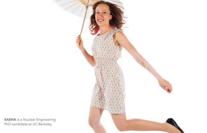 A Ph.D candidate models Betabrand's spring collection.