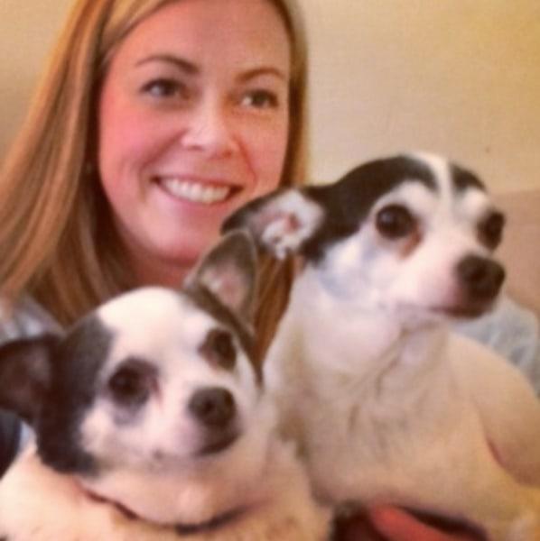 Caroline Ostrom with dogs Esmeralda and Tabitha.