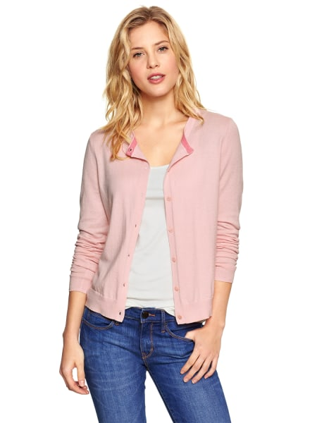 For another daughter, the Luxlight cardigan in pink cameo, $44.95, according to Gap.