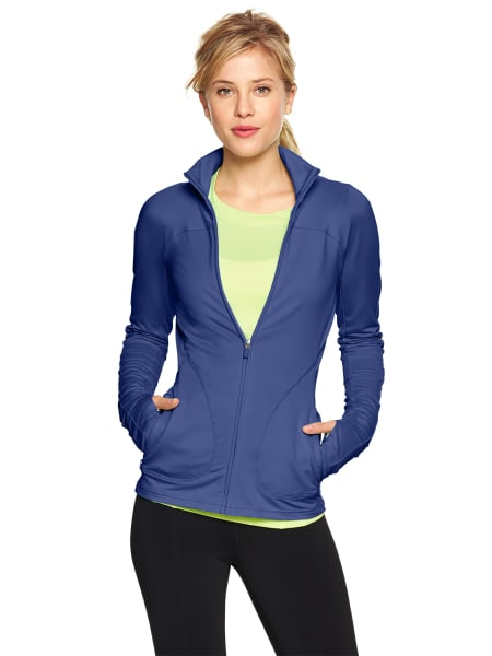 And for Mrs. Obama, the GapFit train jacket in blue shade, $64.95.