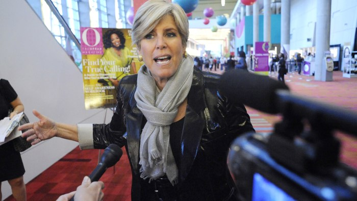 "Speaker and television personality Suze Orman is interviewed on the red carpet during The Oprah Magazine's ""O You"" event of which she was a contributo..."