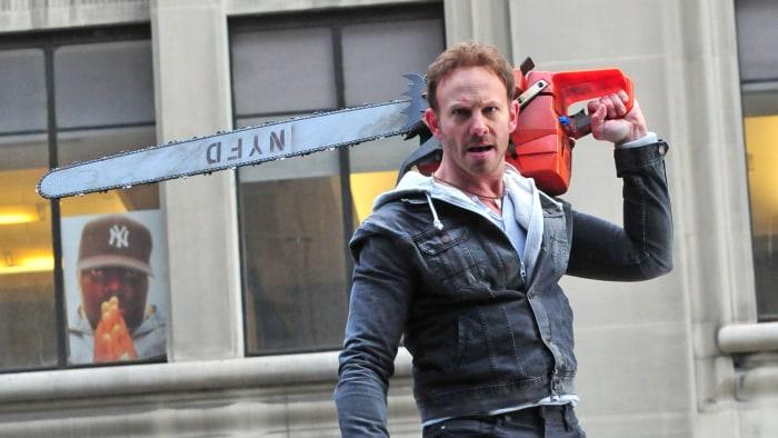 """Actor Ian Ziering is seen on the set of """"Sharknado 2."""""""