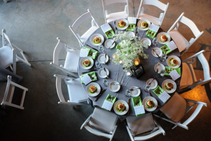 Tables await the 160 wedding guests.