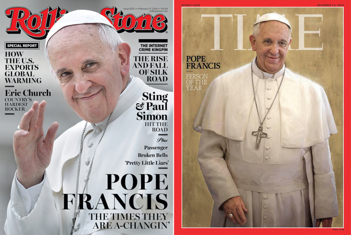 Pope Francis on the cover of Rolling Stone and Time magazines.