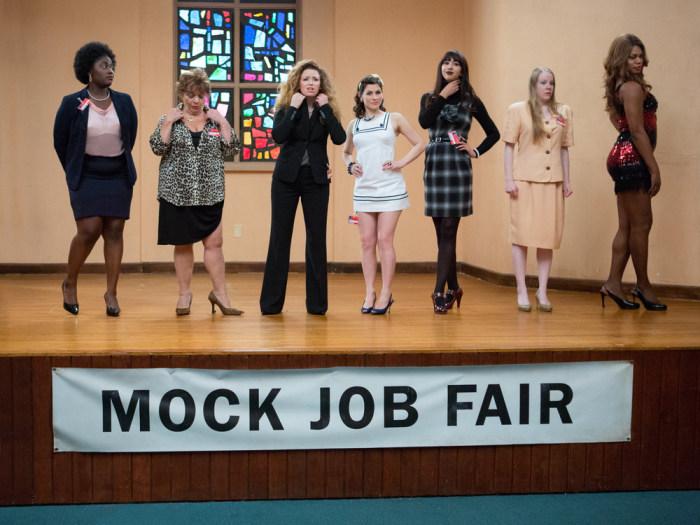 "(L-R) Danielle Brooks, Lin Tucci, Natasha Lyonne, Yael Stone, Jackie Cruz, Emma Myles and Laverne Cox in a scene from Netflix's second season of ""Oran..."