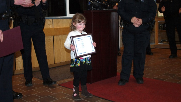 Aryanna Lynch, 3, was honored by the Weymouth police station for calling 911, a call which saved her pregnant mom.