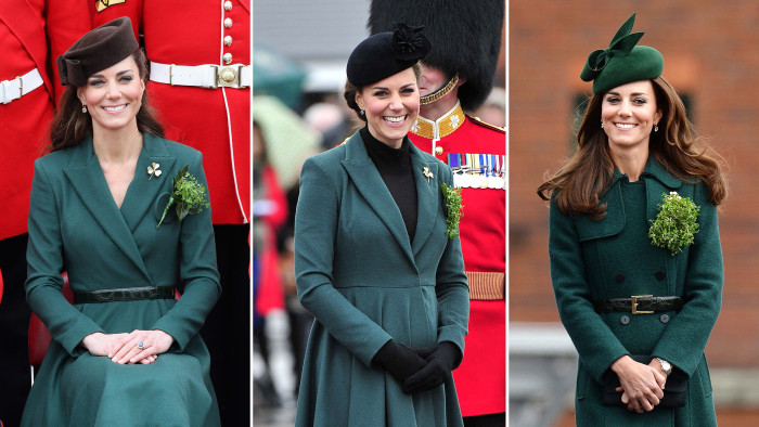 ALDERSHOT, ENGLAND - MARCH 17:  Catherine, Duchess of Cambridge poses for an official photograph she visits Aldershot Barracks on St Patrick's Day on ...