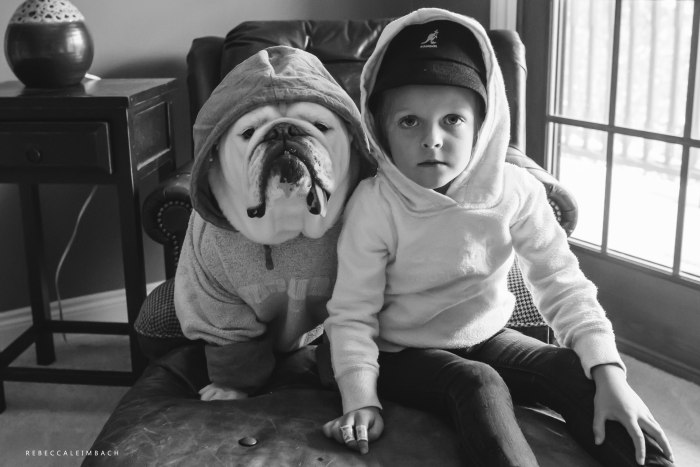 Harper and Lola going gangsta in their hoodies.