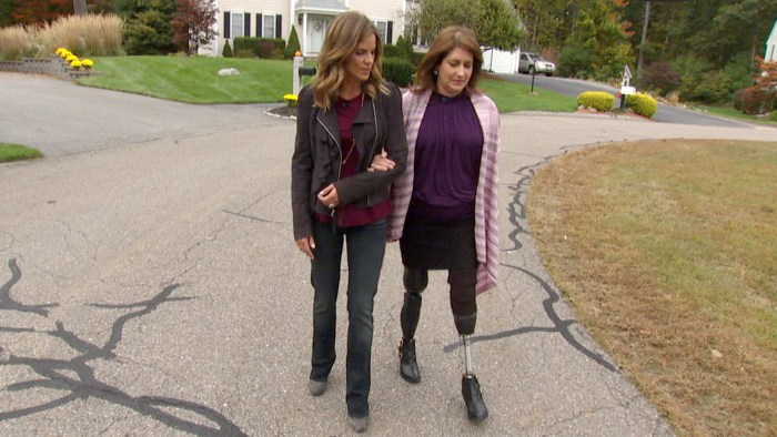 Natalie, walking with Celeste, has become close with the family as she's followed them through their recovery.