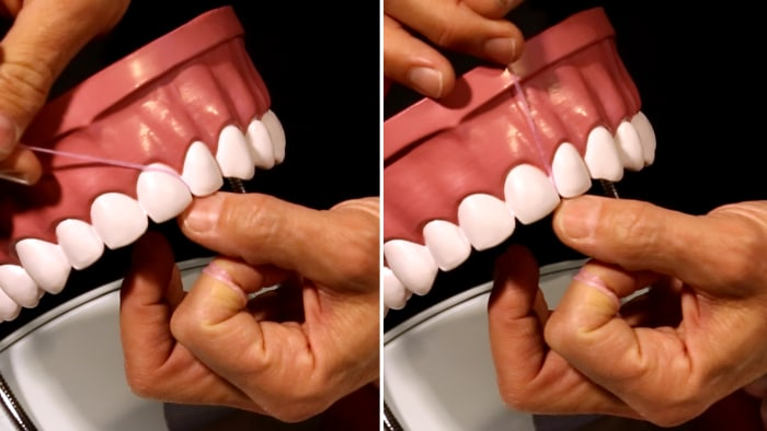 On the left, the correct way to floss your teeth. On the right, the common mistake many of us are making.