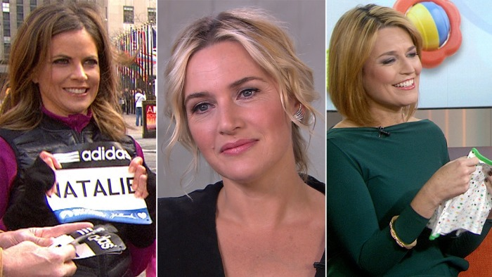 Natalie gets her Boston Marathon bib, Kate Winslet films six weeks after giving birth and Savannah gets baby tips.