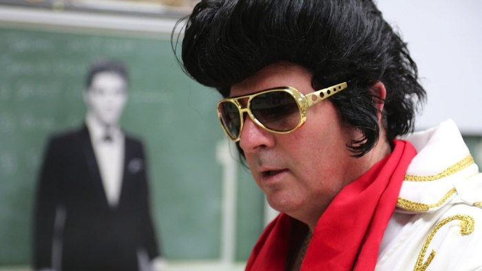 Teacher Frank Cooper channels Elvis at Charles Page High School in Sand Springs, Okla.