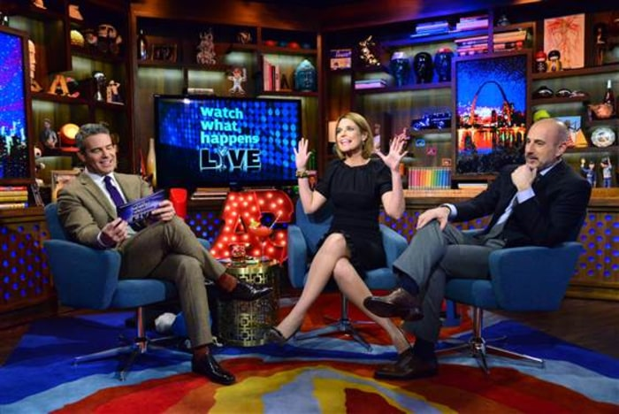 "Matt Lauer and Savannah Guthrie on ""Watch What Happens Live"" with Andy Cohen."
