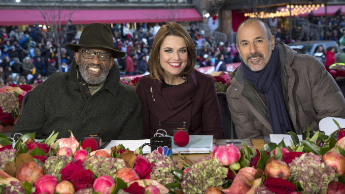 Matt Lauer with Savannah Guthrie and Al Roker at the Thanksgiving Day Parade.