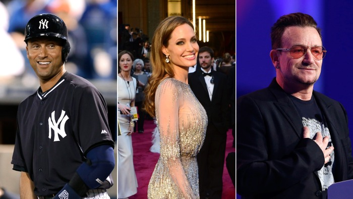 """Derek Jeter, Angelina Jolie and Bono all made Fortune's """"World's 50 Greatest Leaders"""" list."""