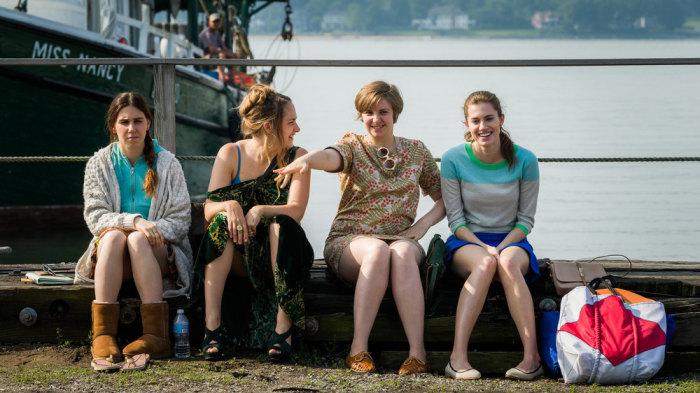 "Zosia Mamet, Jemima Kirke, Lena Dunham, Allison Williams in an episode of the third season of ""Girls."""
