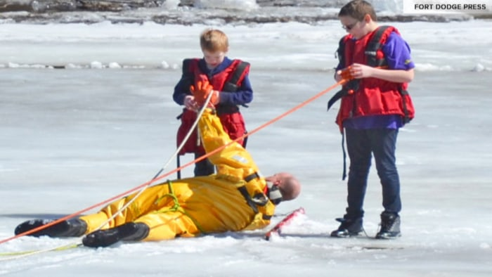 Firefighter Alan Angstrom was able to reach the boys while they were stranded on an ice sheet that was floating toward a nearby hydroelectric dam.