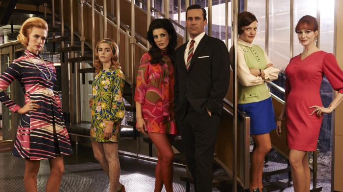 Betty Francis (January Jones), Sally Draper (Kiernan Shipka), Megan Draper (Jessica Pare), Don Draper (Jon Hamm), Peggy Olson (Elisabeth Moss) and Joa...