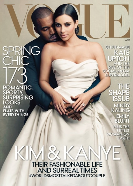 The April 2014 cover image of Vogue, photographed by Annie Leibovitz, features Kim Kardashian and Kanye West.