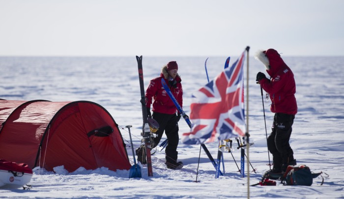 Princy Harry walks around his team's camp in Antarctica.