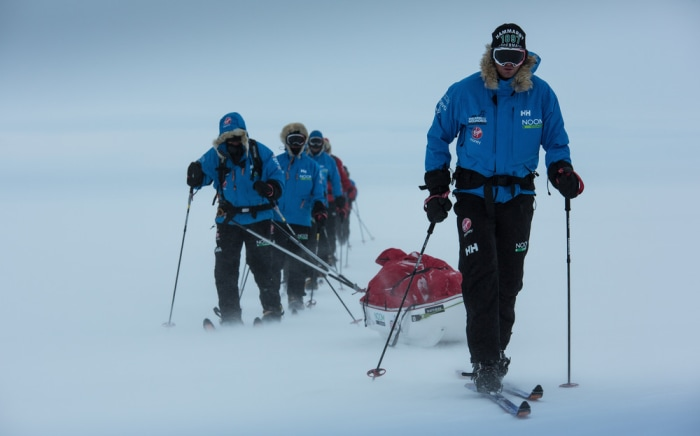 One team journeys through difficult elements while racing to the South Pole.