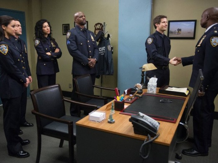 "Is it over? Detective Jake Peralta (Andy Samberg) moved on from the ""Brooklyn Nine Nine"" precinct in the season finale."