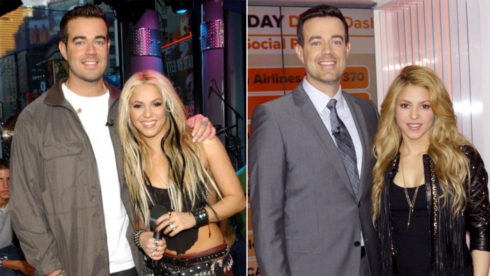 Then and now photo of Carson Daly and Shakira.