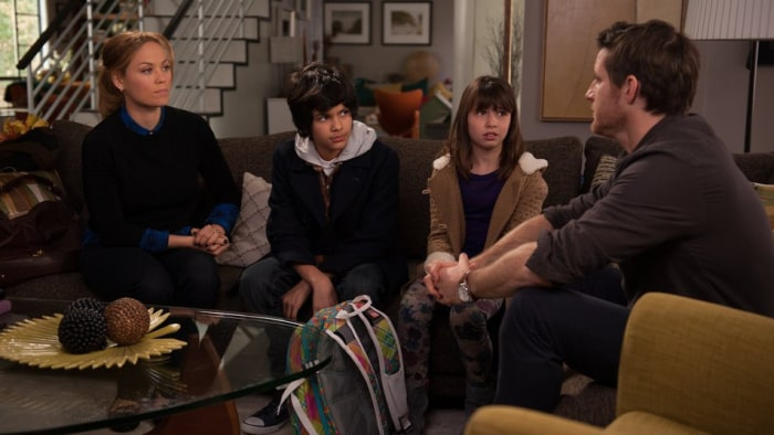 "In a scene from ""Parenthood,""  (L-R), Erika Christensen as Julia, Xolo Mariduena as Victor, Savannah Paige Rae as Sydney, and Sam Jaeger as Joel."