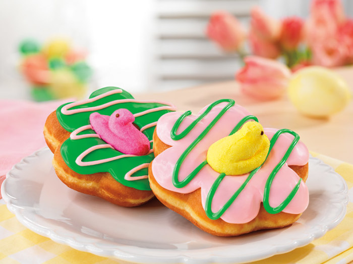 Peeps doughnuts debut at Dunkin' Donuts on March 31.