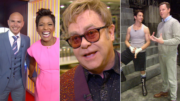 "Pitbull performs in Studio 1A, Elton John talks about his prolific career and Andy Karl shows Willie the ""Rocky"" ropes."