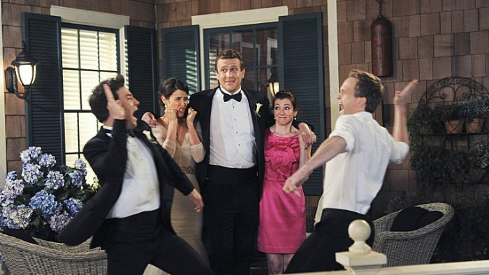 """The stars of """"How I Met Your Mother"""" in the series finale:  (L-R) Josh Radnor as Ted, Cobie Smulders as Robin, Jason Segel as Marshall, Alyson Hanniga..."""