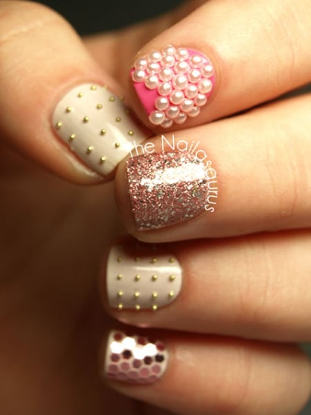 Pearl, Stud and Sparkle Nail Art