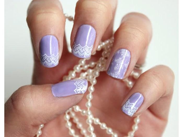 Lavender Lace Nail Art