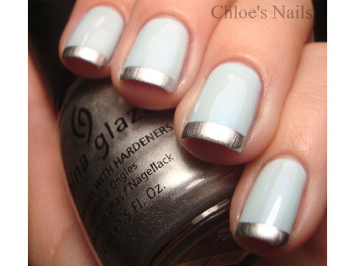 Baby Blue Tips Nail Art