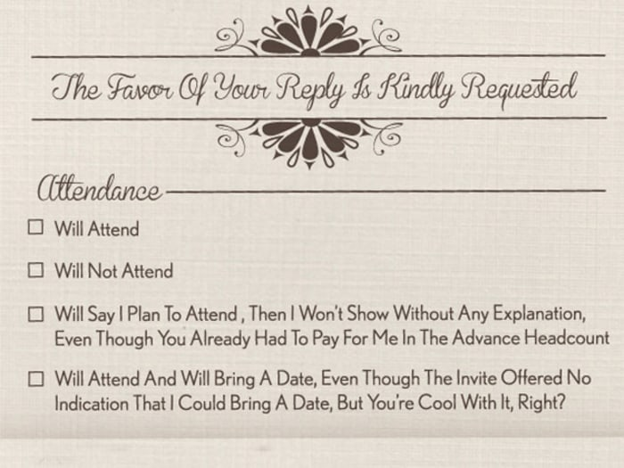 Courtesy Happy Place / Today. Funny Wedding RSVP: What You Want To Say