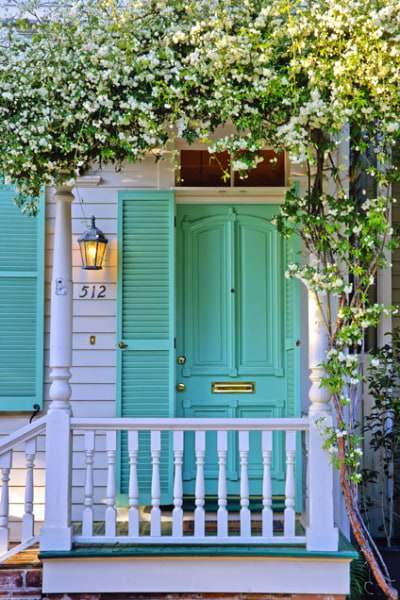 Colorful Front Doors Teal Aqua Blue Green Door and Shutters